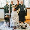Yushin head shaving before taking priest vows